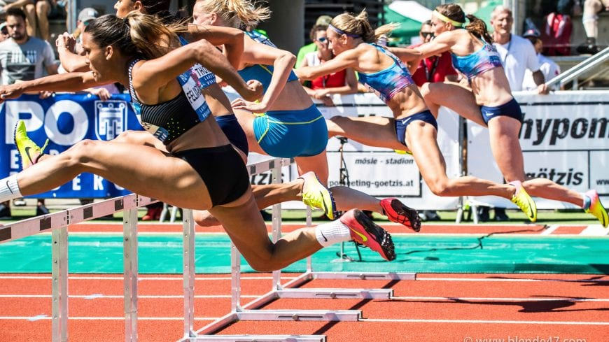 Goetzis, Oesterreich, 27.5.2017, Sport,  Leichtathletik - Hypo Meeting Goetzis. Bild zeigt 100m Hürden.  27/05/17, Goetzis, Austria, sport, Leichtathletik - Hypo Meeting Goetzis. Image shows 100m Hurdles.