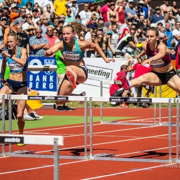 Goetzis, Oesterreich, 27.5.2017, Sport,  Leichtathletik - Hypo Meeting Goetzis. Bild zeigt Alina Shukh (UKR), Sarah Lagger (AUT) und Geraldine Ruckstuhl (SUI), 100m Hürden.  27/05/17, Goetzis, Austria, sport, Leichtathletik - Hypo Meeting Goetzis. Image shows Alina Shukh (UKR), Sarah Lagger (AUT) and Geraldine Ruckstuhl (SUI), 100m Hurdles.