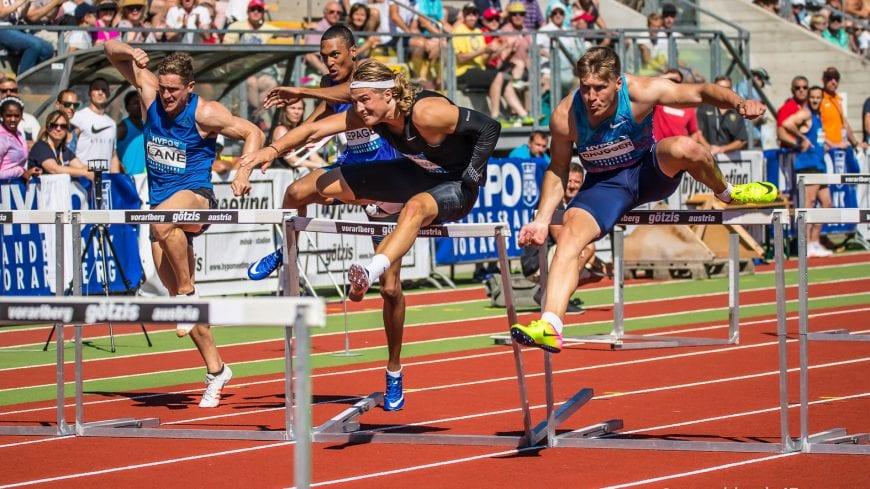 Goetzis, Oesterreich, 28.5.2017, Sport,  Leichtathletik - Hypo Meeting Goetzis. Bild zeigt John Lane (GBR), Pierce Lepage (CAN), Fredrik Samuelson (SWE), Mathias Brugger (GER) und Darko Pesic (MNE), 110m Hürden.  28/05/17, Goetzis, Austria, sport, Leichtathletik - Hypo Meeting Goetzis. Image shows John Lane (GBR), Pierce Lepage (CAN), Fredrik Samuelson (SWE), Mathias Brugger (GER) und Darko Pesic (MNE), 110m Hurdles.