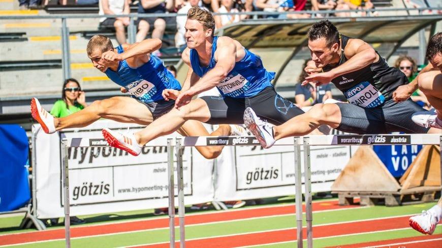 Goetzis, Oesterreich, 28.5.2017, Sport,  Leichtathletik - Hypo Meeting Goetzis. Bild zeigt Maicel Uibo (EST), Niels Pittomvils (BEL) und Simone Carol (ITA), 110m Hürden.  28/05/17, Goetzis, Austria, sport, Leichtathletik - Hypo Meeting Goetzis. Image shows Maicel Uibo (EST), Niels Pittomvils (BEL) and Simone Carol (ITA), 110m Hurdles.